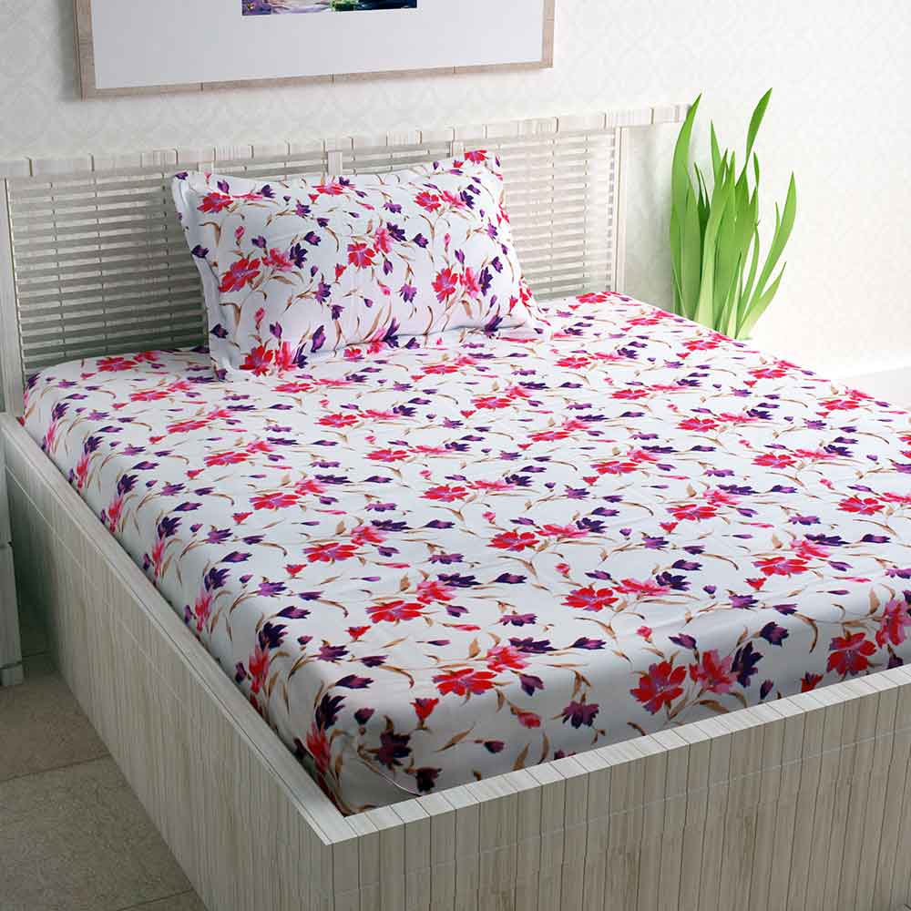 Divine Casa White Cotton Pigment 100% Cotton Single Bedsheet With 1 Pillow Cover | Floral