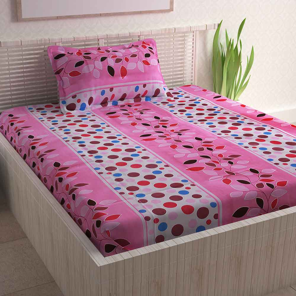 Divine Casa Pink Cotton Pigment 100% Cotton Single Bedsheet With 1 Pillow Cover | Floral