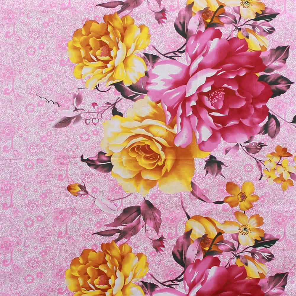 Divine Casa Pink Cotton Pigment Bedsheets For Double Bed Cotton   Rose  Floral   CTM Textile Mills