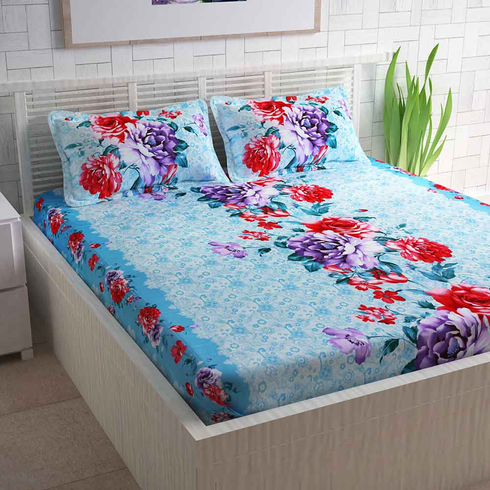 Divine Casa Blue Cotton Pigment Bedsheets For Double Bed Cotton | Rose Floral