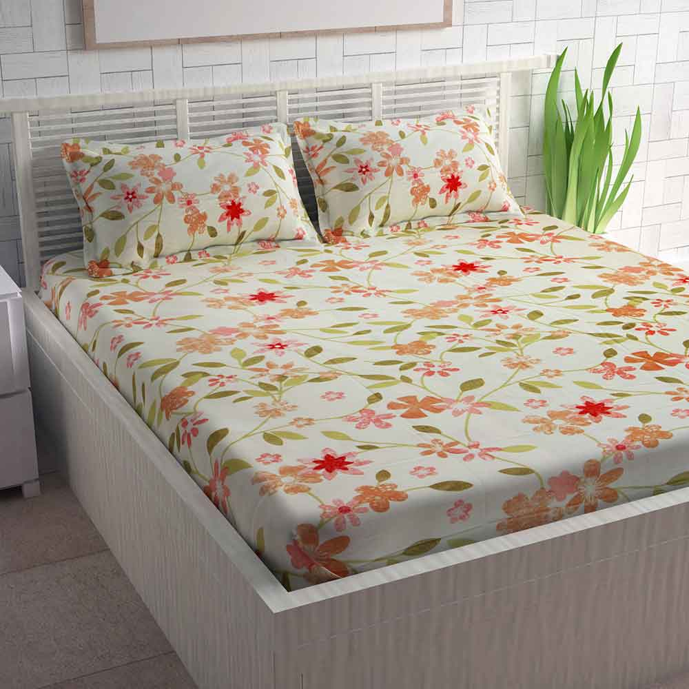 Divine Casa Red Cotton Pigment Bedsheets For Double Bed Cotton | Floral