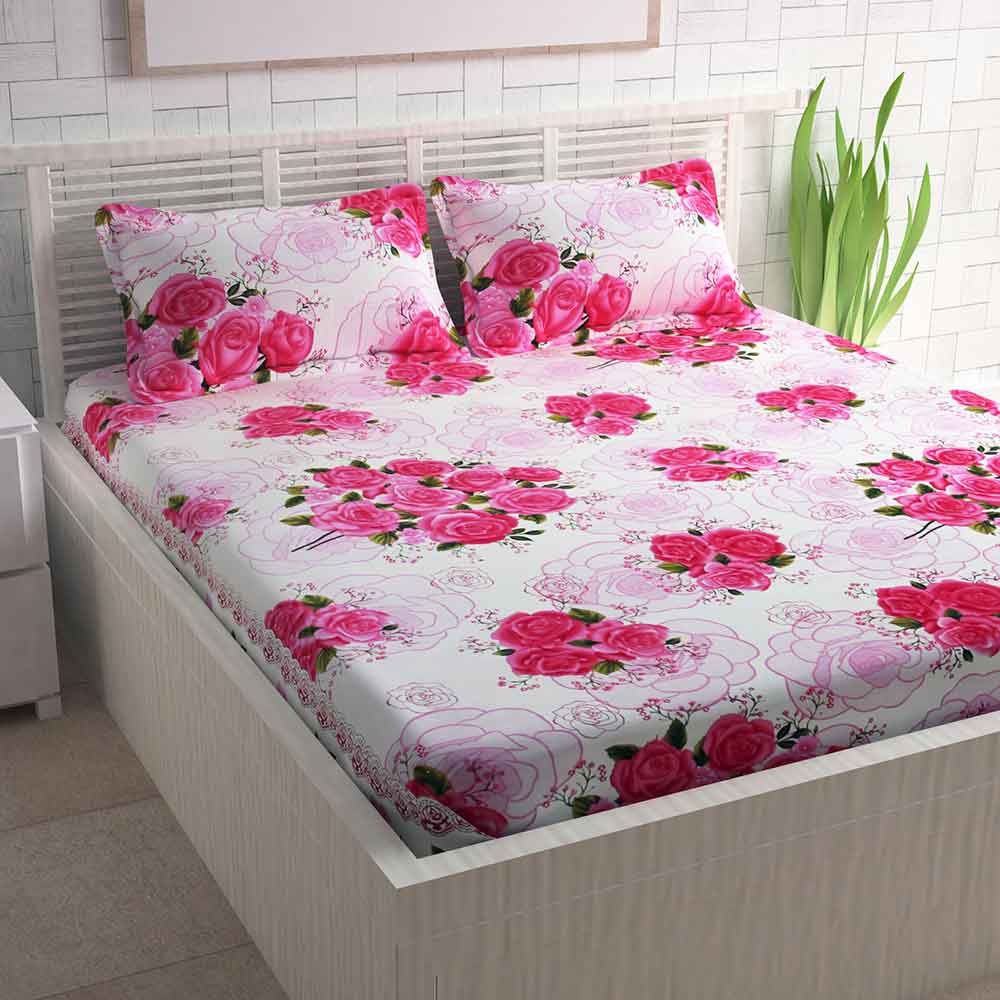 Divine Casa Pink Cotton Pigment Bedsheets For Double Bed Cotton | Rose Floral