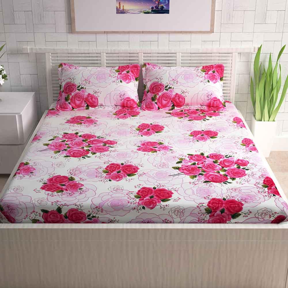 Divine Casa Pink Cotton Pigment Bedsheets For Double Bed Cotton | Rose  Floral | CTM Textile Mills