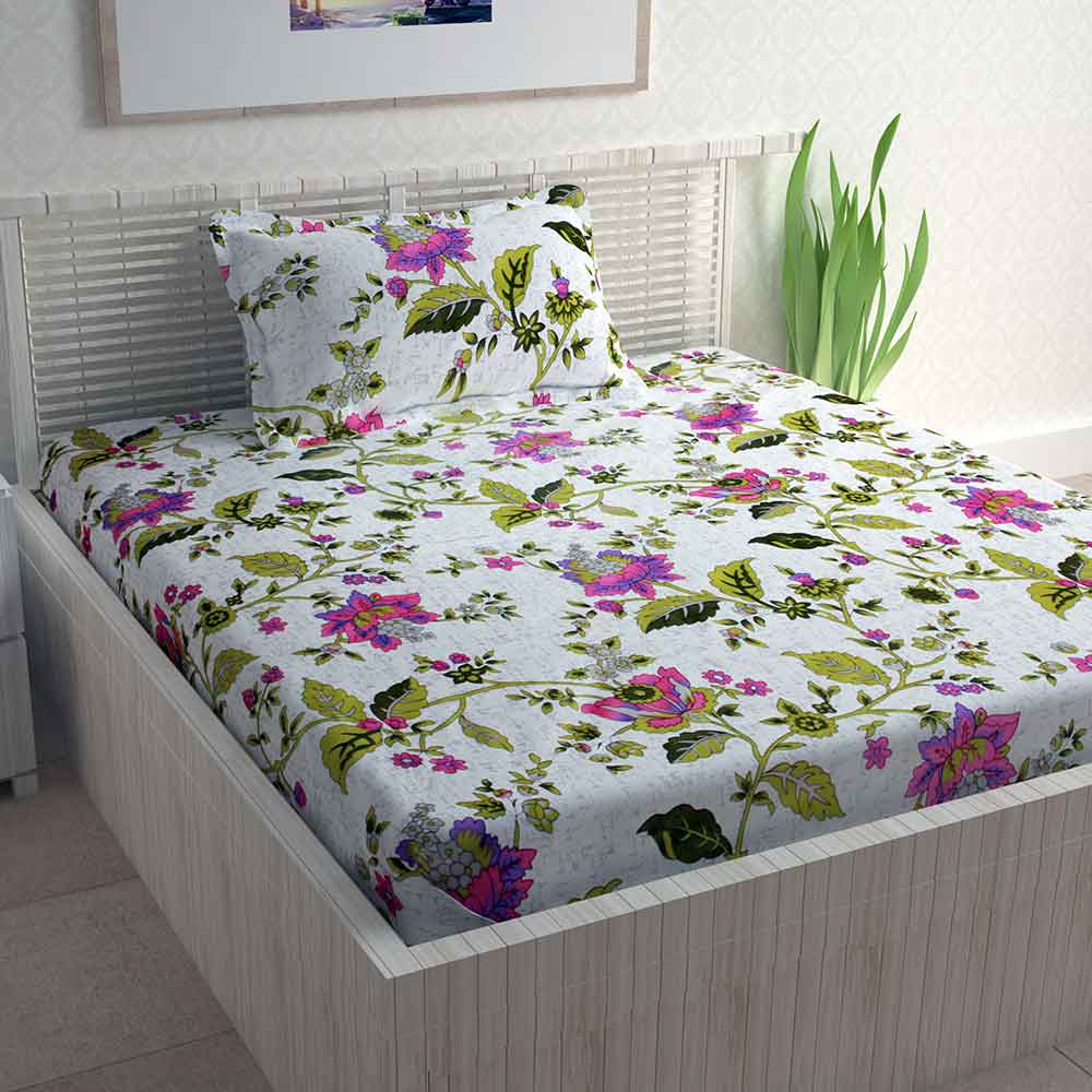 Divine Casa Off-White Poly Cotton Pigment Cotton Blend Single Bedsheet With 1 Pillow Cover | Floral