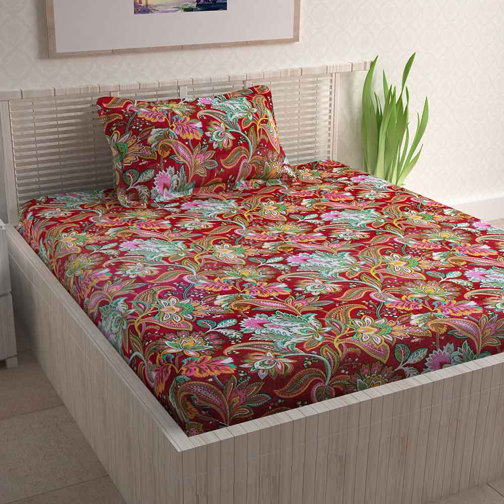 Divine Casa Brown Cotton Pigment 100% Cotton Single Bedsheet With 1 Pillow Cover | Floral