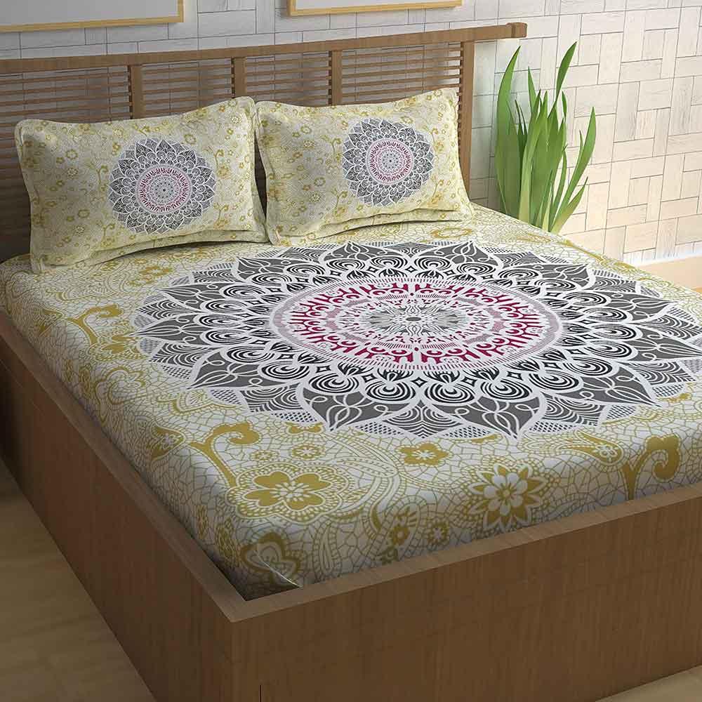 Divine Casa Paisley Athnic 100% Cotton Double Bedsheet with 2 Pillow Covers, Multicolour