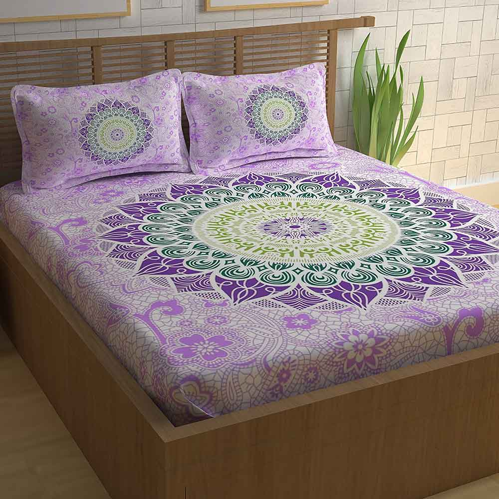 Divine Casa Athnic 100% Cotton 104 TC Double Bedsheet with 2 Pillow Covers, Purple