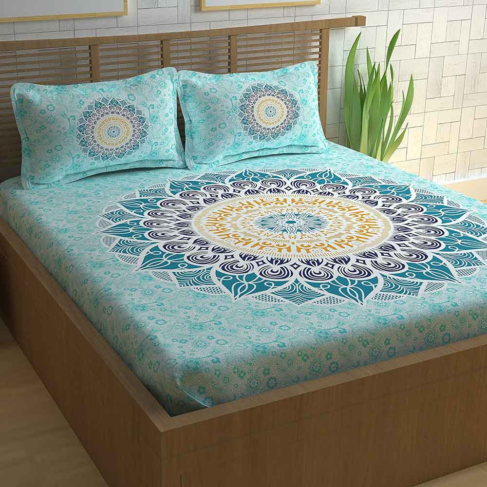 Divine Casa Paisley Athnic 100% Cotton Double Bedsheet with 2 Pillow Covers, Turquoise Blue
