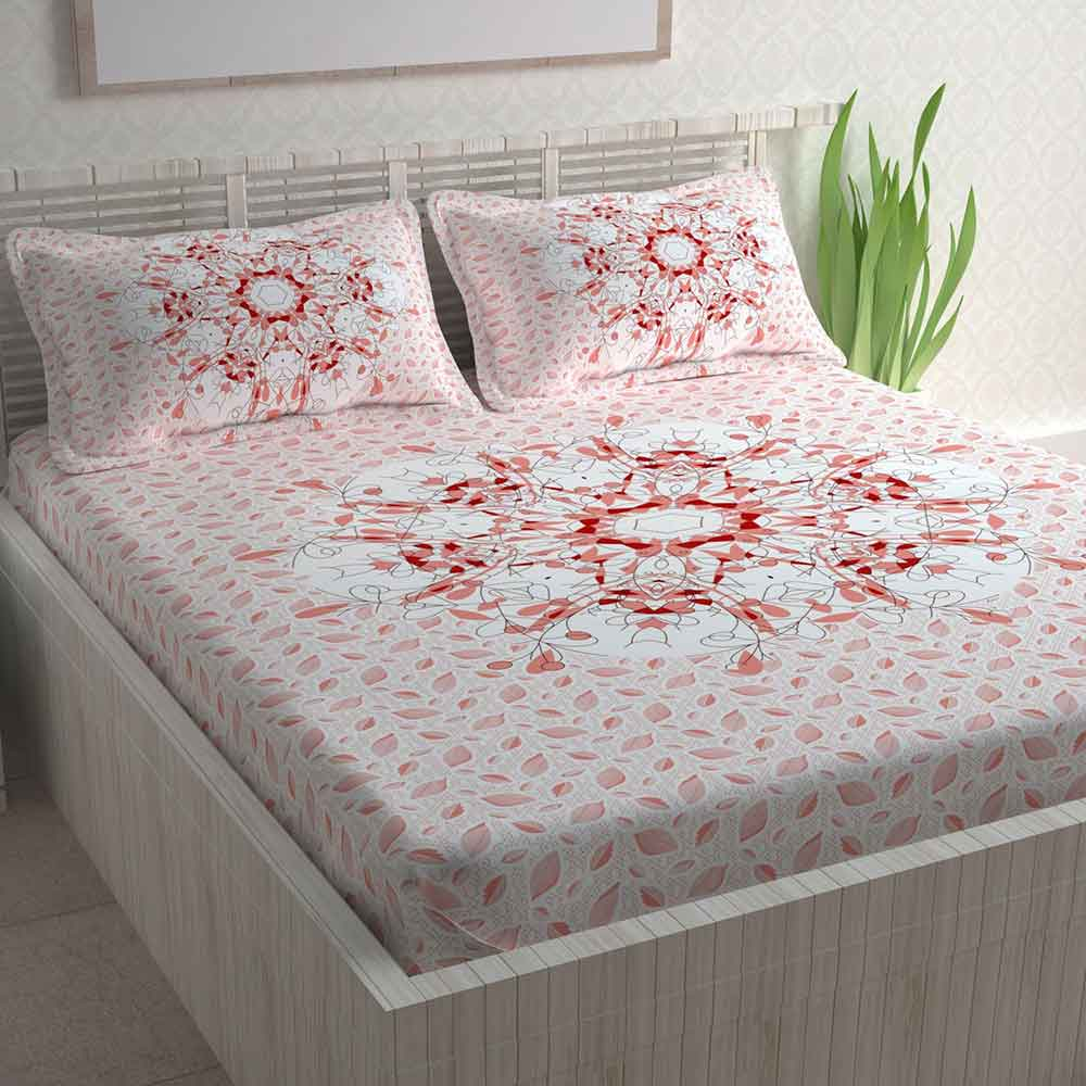 Divine Casa Paisley Athnic 100% Cotton Double Bedsheet with 2 Pillow Covers (Light Pink)