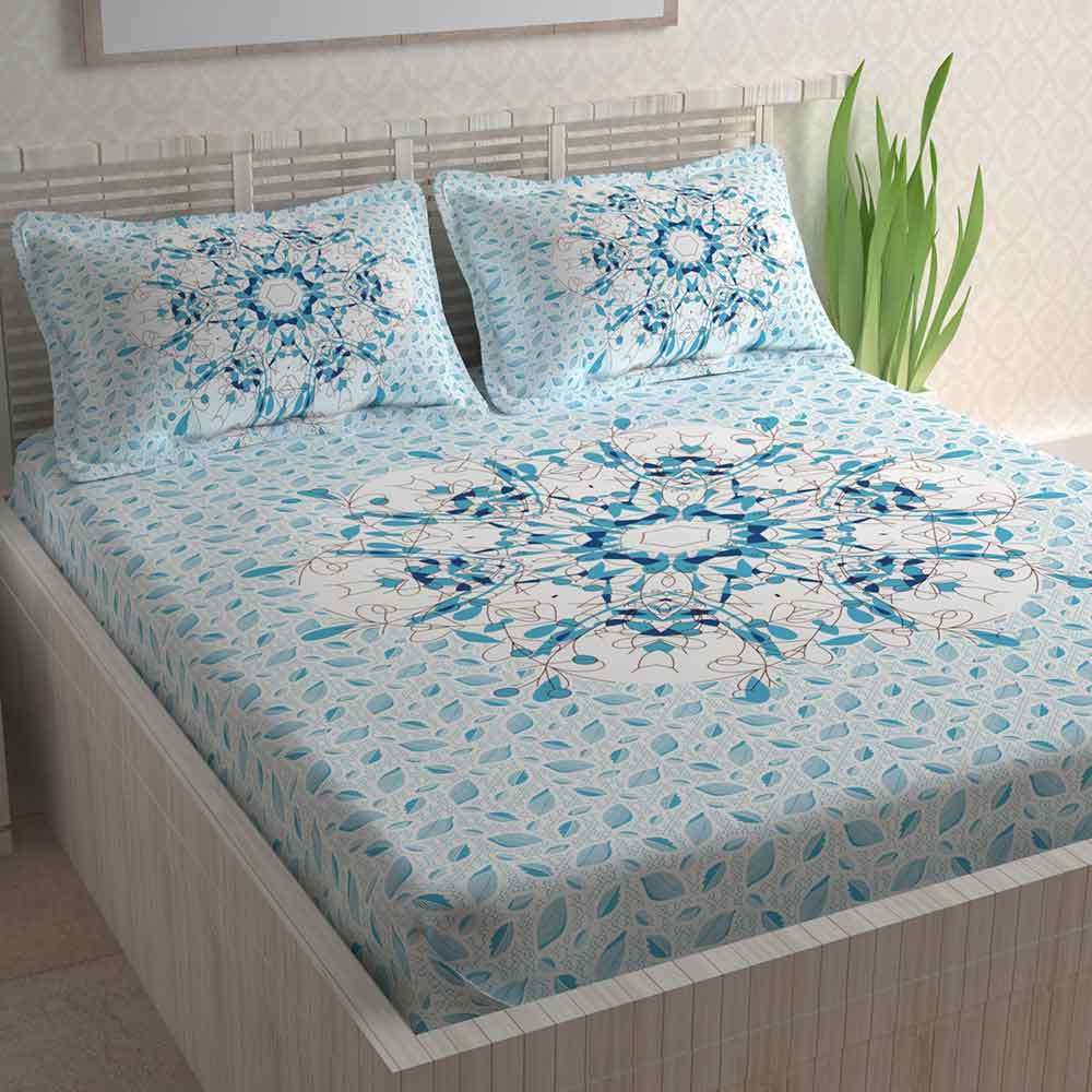 Divine Casa Paisley Athnic 100% Cotton Double Bedsheet with 2 Pillow Covers (Sky Blue)