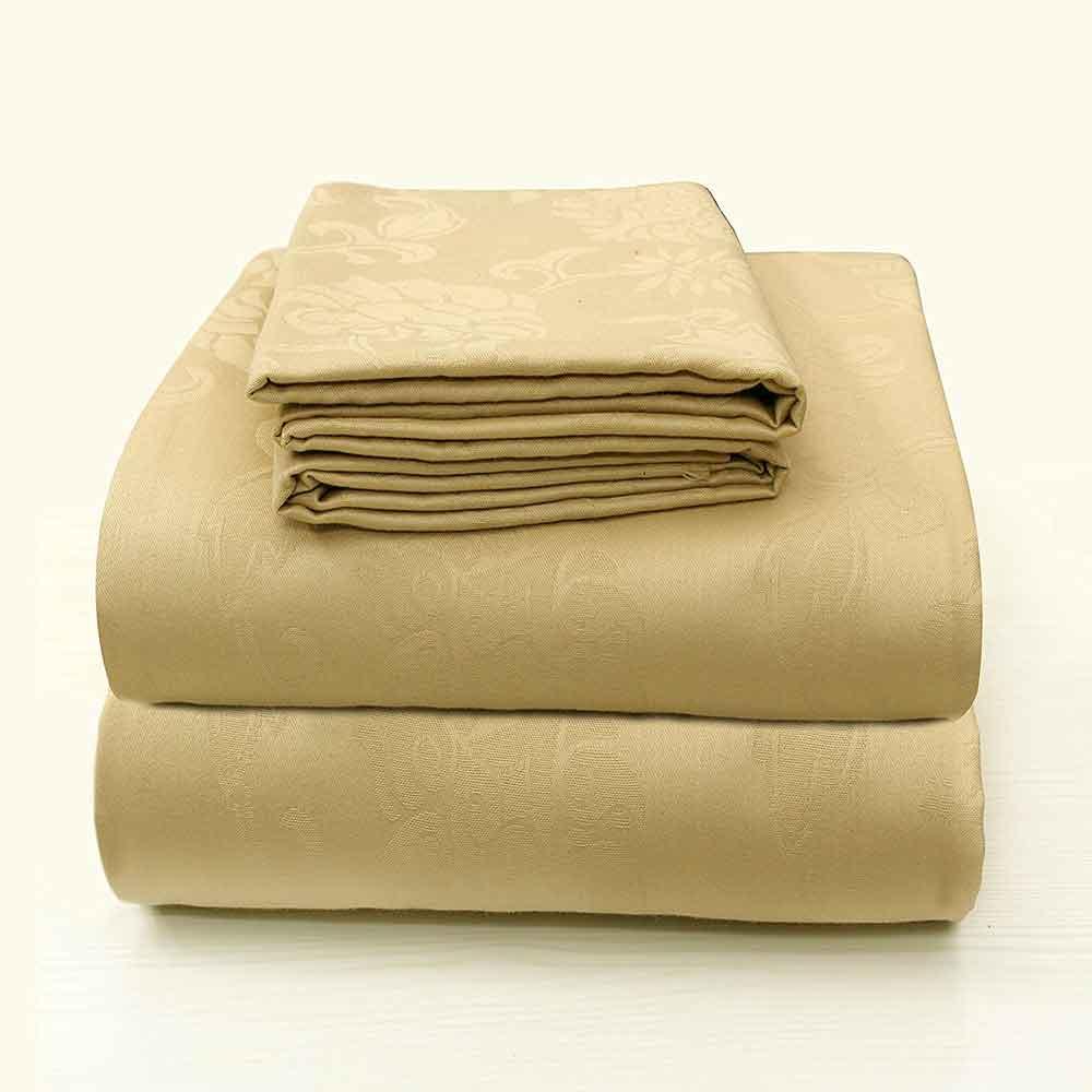 Divine Casa Comfort Collection Hypoallergic Fade Resistant 100% Cotton 3 Piece Bedsheet Set Jacquard Series – Beige