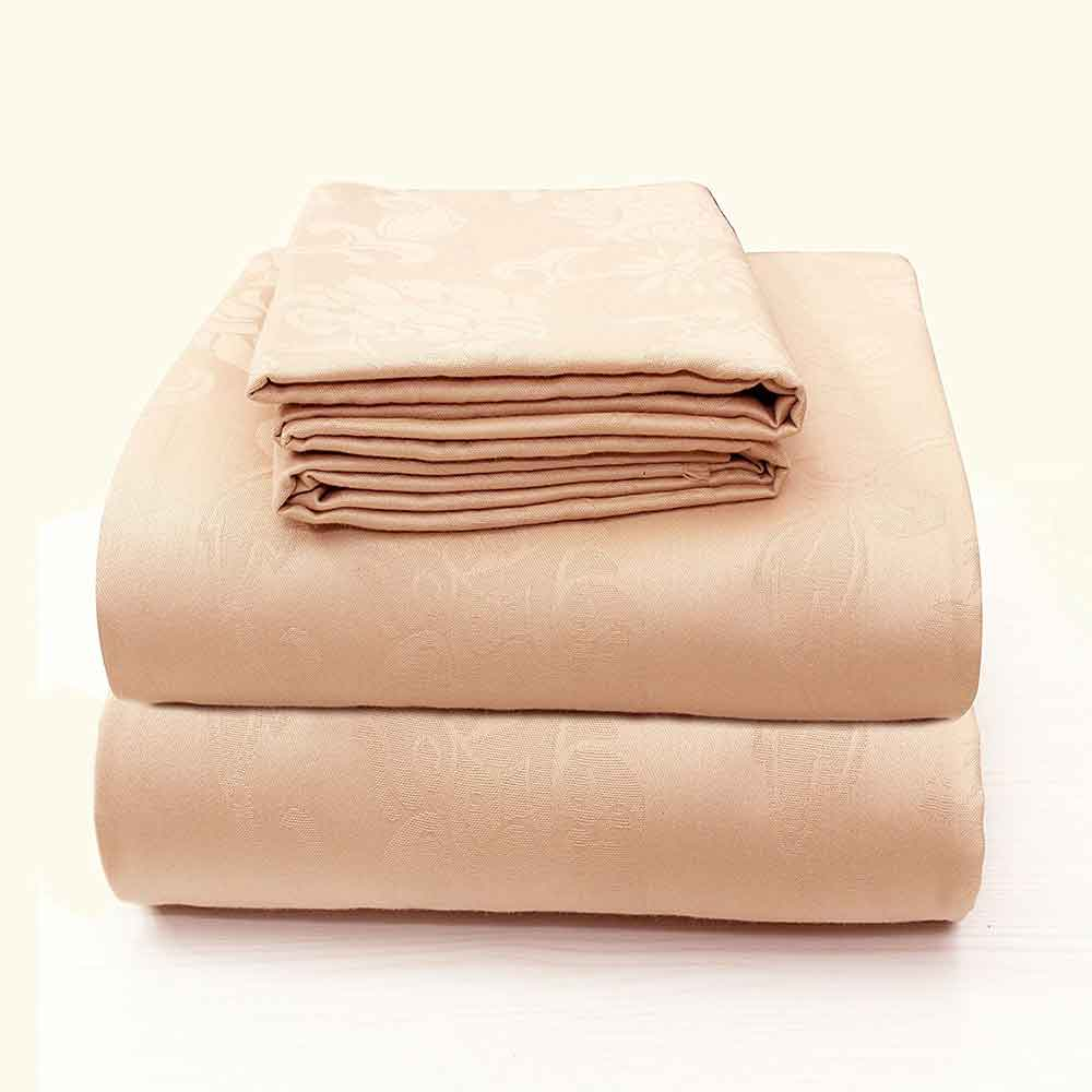 Divine Casa Comfort Collection Breathable 100% Premium Cotton 3 Piece Luxury Bedding Set Jacquard Series – Peach