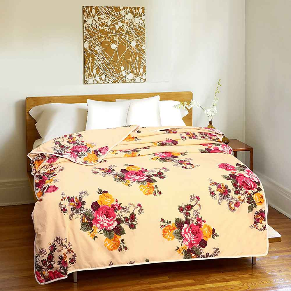 Divine Casa Single Polyester Printed Dohar – Cream