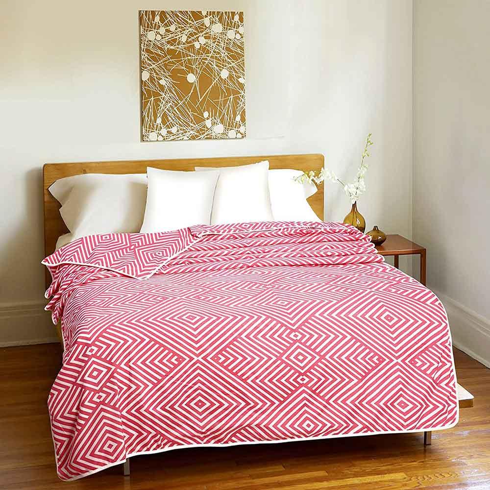 DIVINE CASA Single Polyester Printed Dohar – Baby Pink