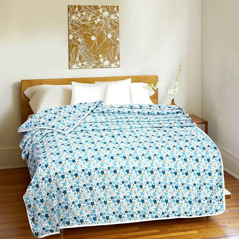 DIVINE CASA Single Polyester Printed Dohar – Light Blue