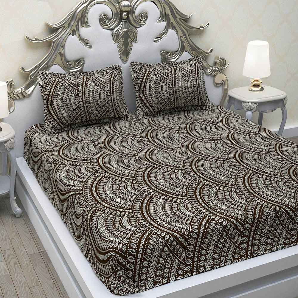 Divine Casa Geometric 180 TC Double Bedsheets with 2 Pillow Covers