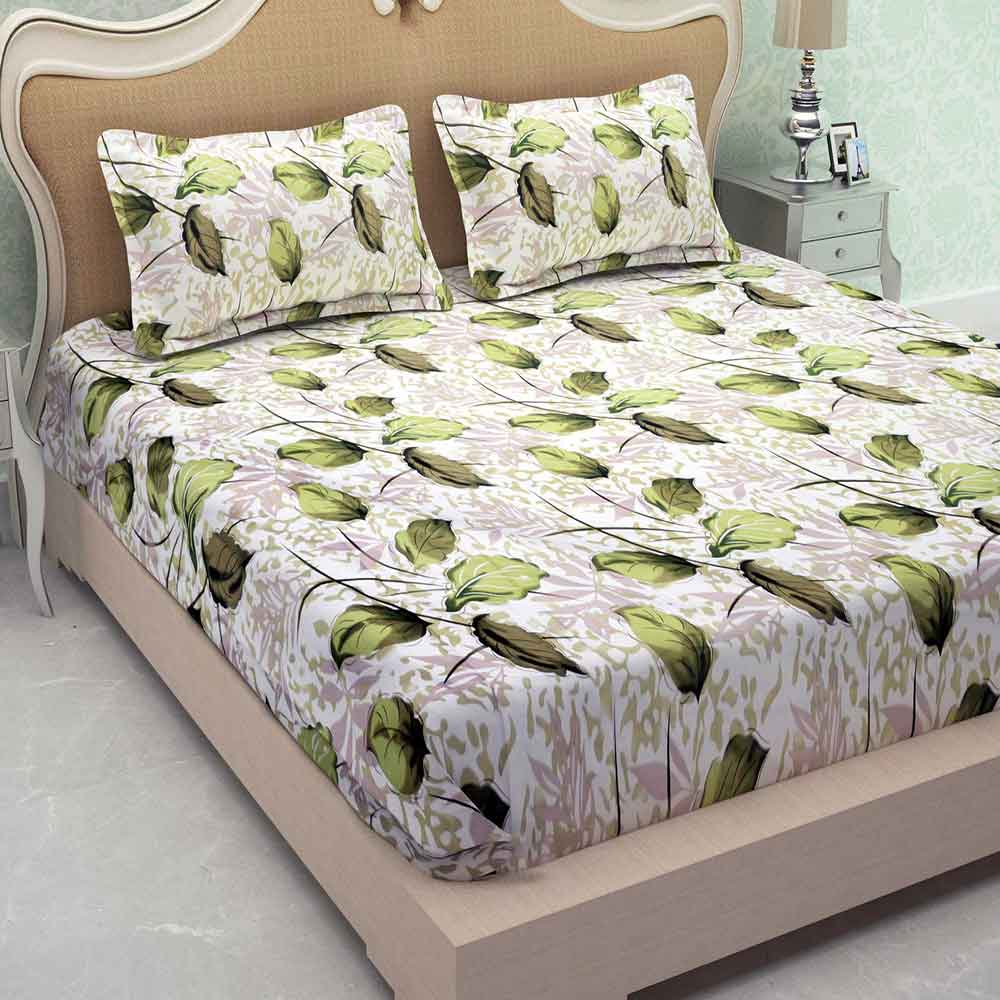 Divine Casa Millennial 180 TC Cotton Double Bedsheet with 2 Pillow Covers – Floral, Green
