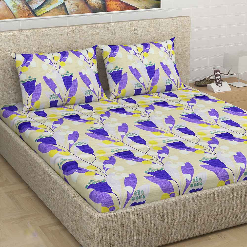 Divine Casa Millennial 180 TC Cotton Double Bedsheet with 2 Pillow Covers – Blue
