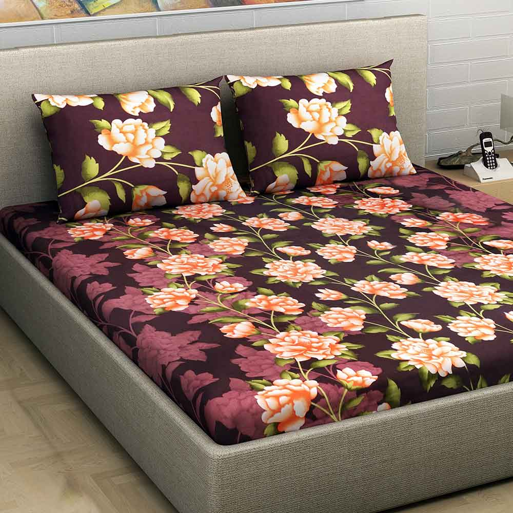 Divine Casa Millennial 180 TC Cotton Double Bedsheet with 2 Pillow Covers – Floral