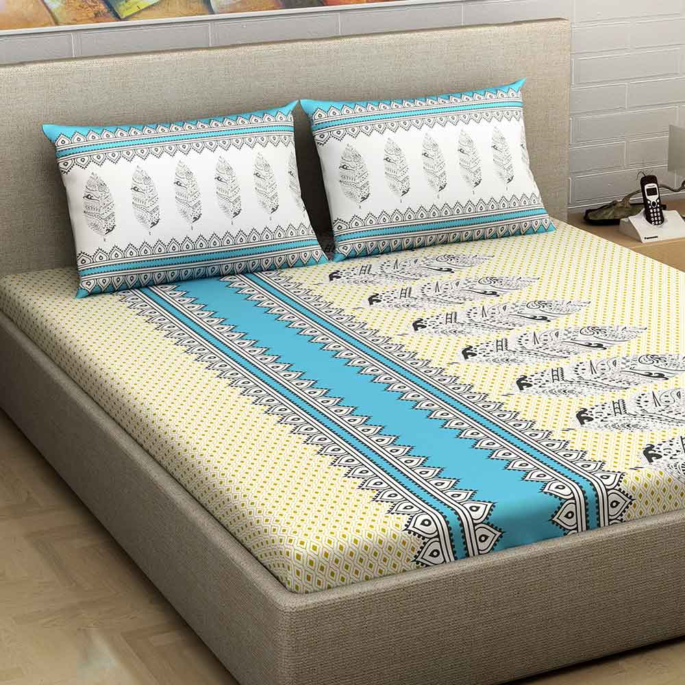 Divine Casa Millenial 100% Cotton 180 Tc Double Bedsheet with 2 Pillow Covers, Blue Abstract