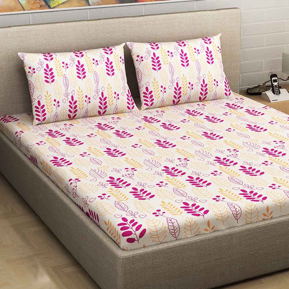 Divine Casa Millenial 100% Cotton 180 Tc Double Bedsheet With 2 Pillow Covers