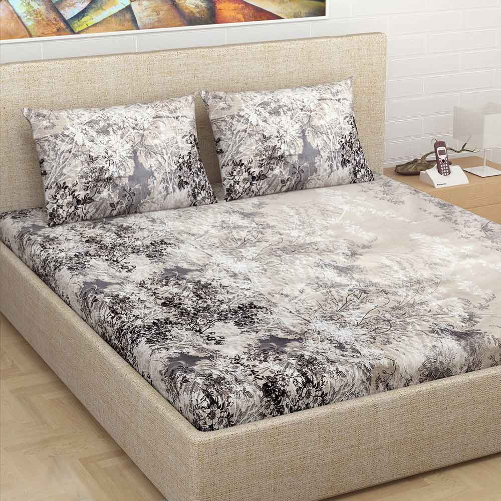 Divine Casa Millenial 100% Cotton 180 Tc Double Bedsheet with 2 Pillow Covers, Grey Floral