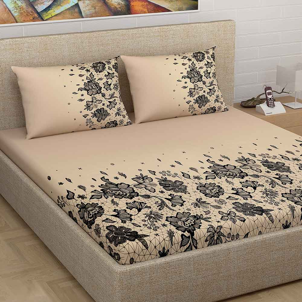Divine Casa Millenial 100% Cotton 180 Tc Double Bedsheet with 2 Pillow Covers, Beige Floral