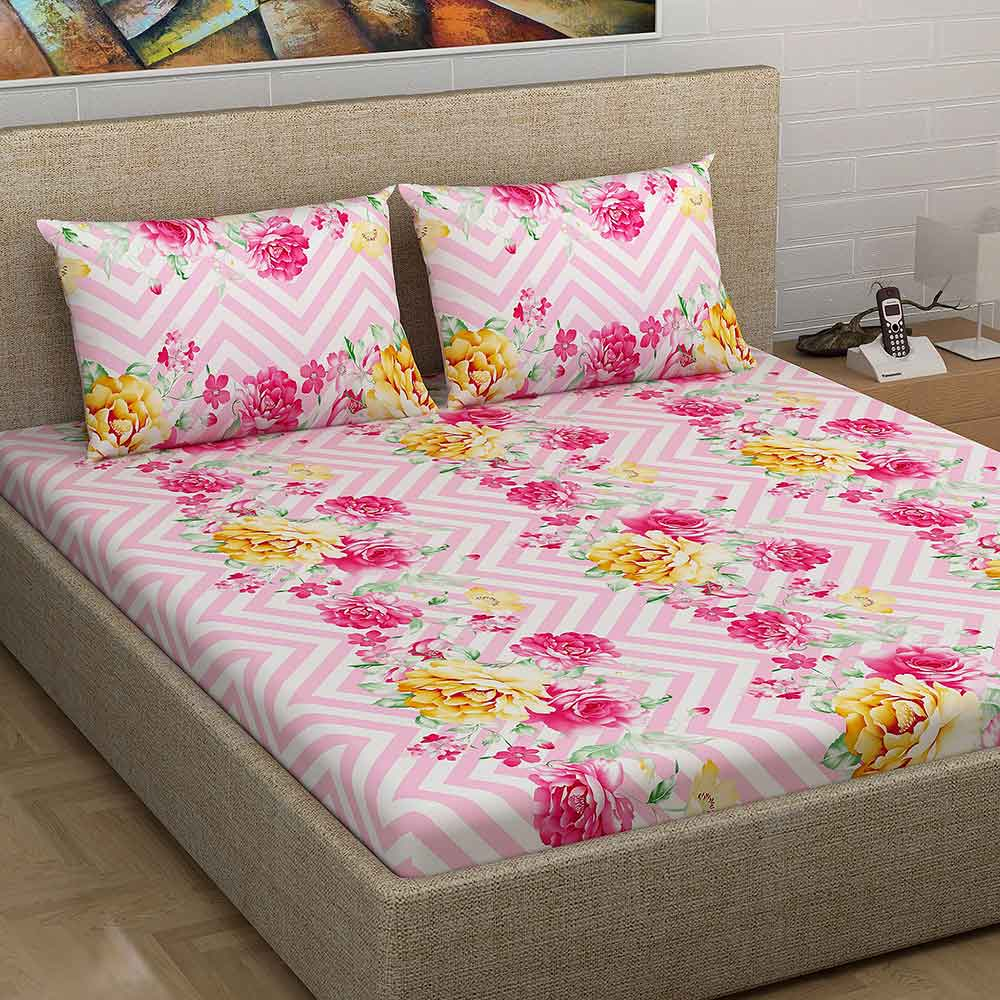 Divine Casa 100% Cotton 180TC Twill Satin 1 Double Bedsheet with 2 Pillow Covers