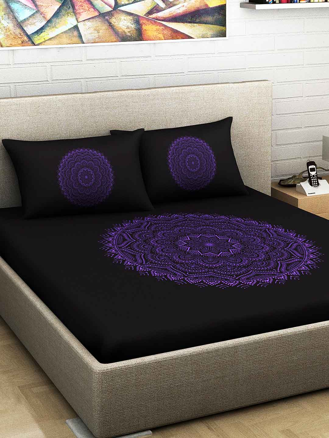 Divine Casa 100% Cotton 300 TC Premium Mandala Prints King Size Bed Sheet With 2 Pillow Covers, Purple