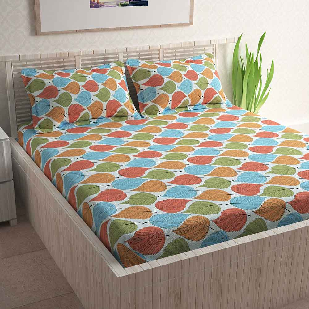 Divine Casa 100% Cotton 144 TC Double Bed Sheet With 2 Pillow Covers, Floral – Red & Green