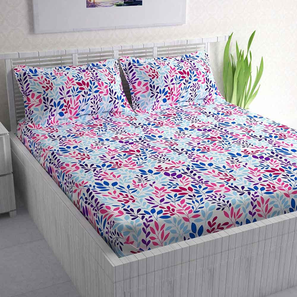 Divine Casa 100% Cotton 144 TC Double Bed Sheet With 2 Pillow Covers, Floral – Pink & Blue