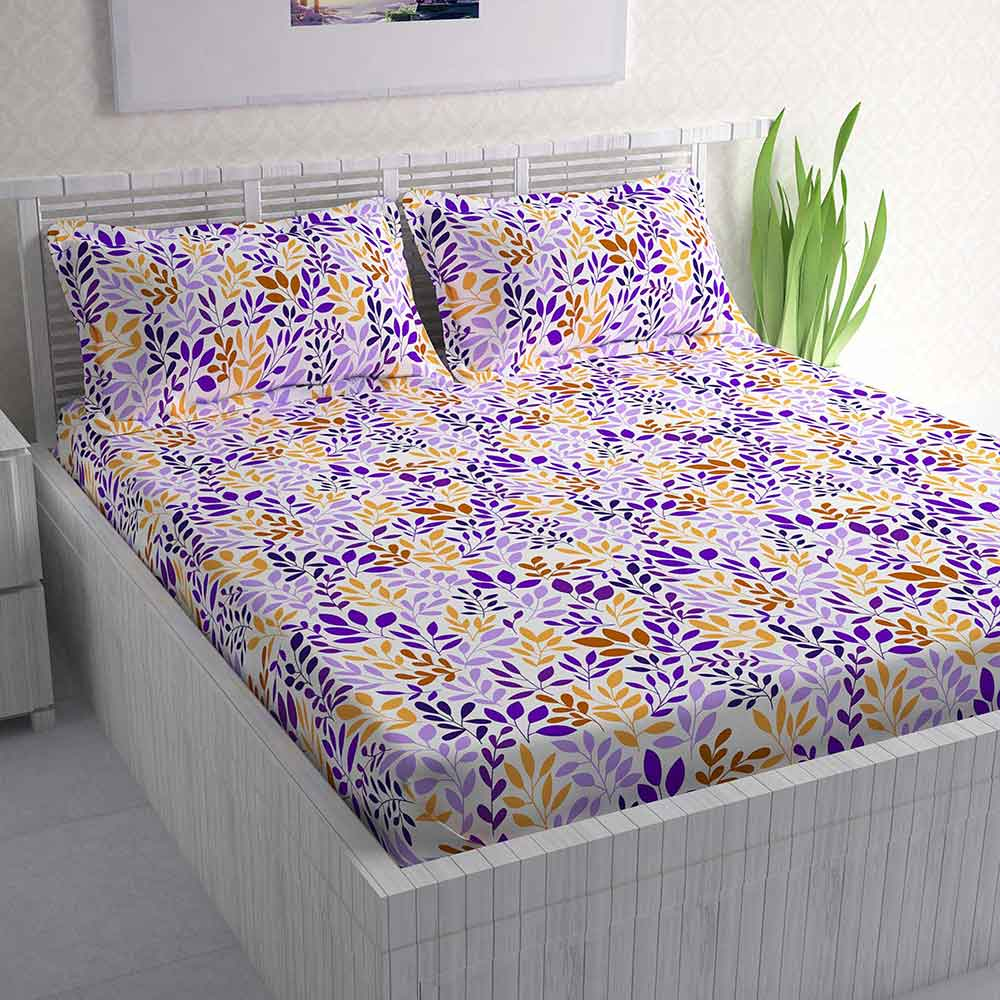 Divine Casa 100% Cotton Double Bed Sheet With 2 Pillow Covers 144 TC, Floral – Yellow & Lavender