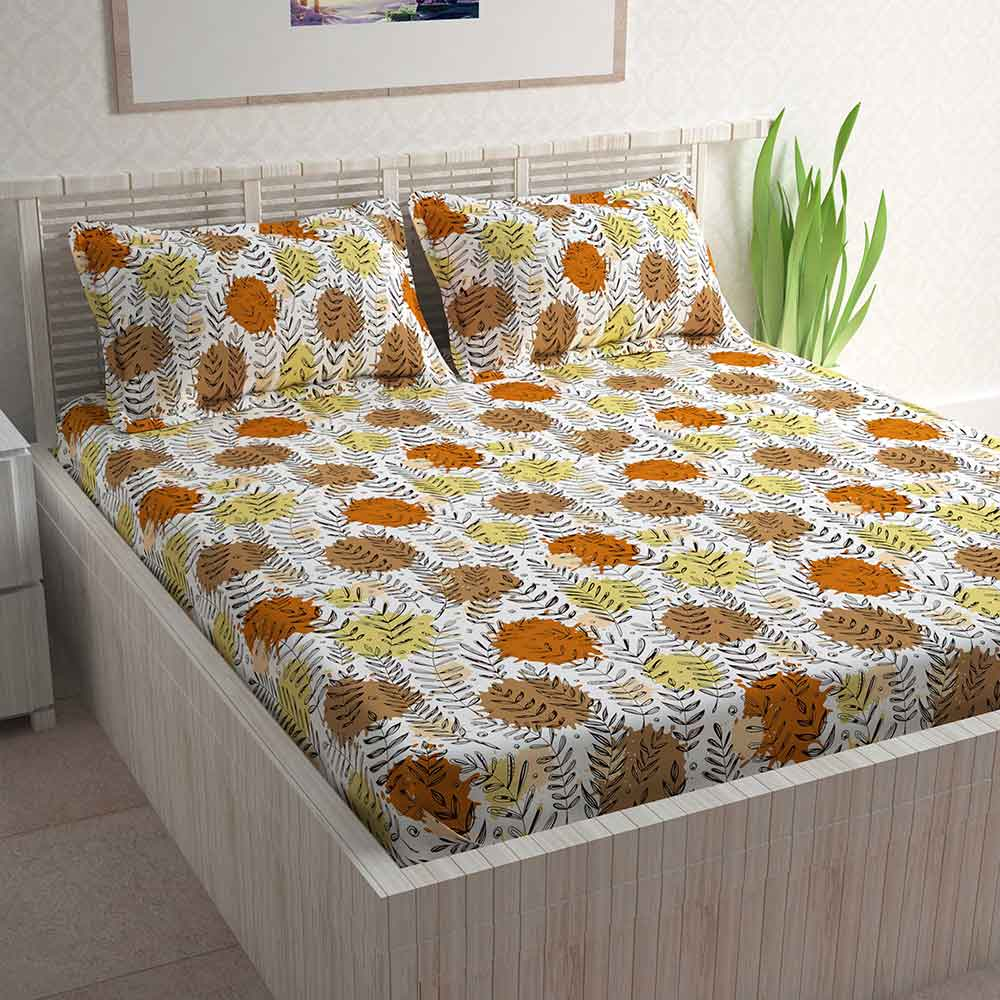 Divine Casa 100% Double Bed Sheet With 2 Pillow Covers Cotton 144 TC, Floral – Orange & Brown