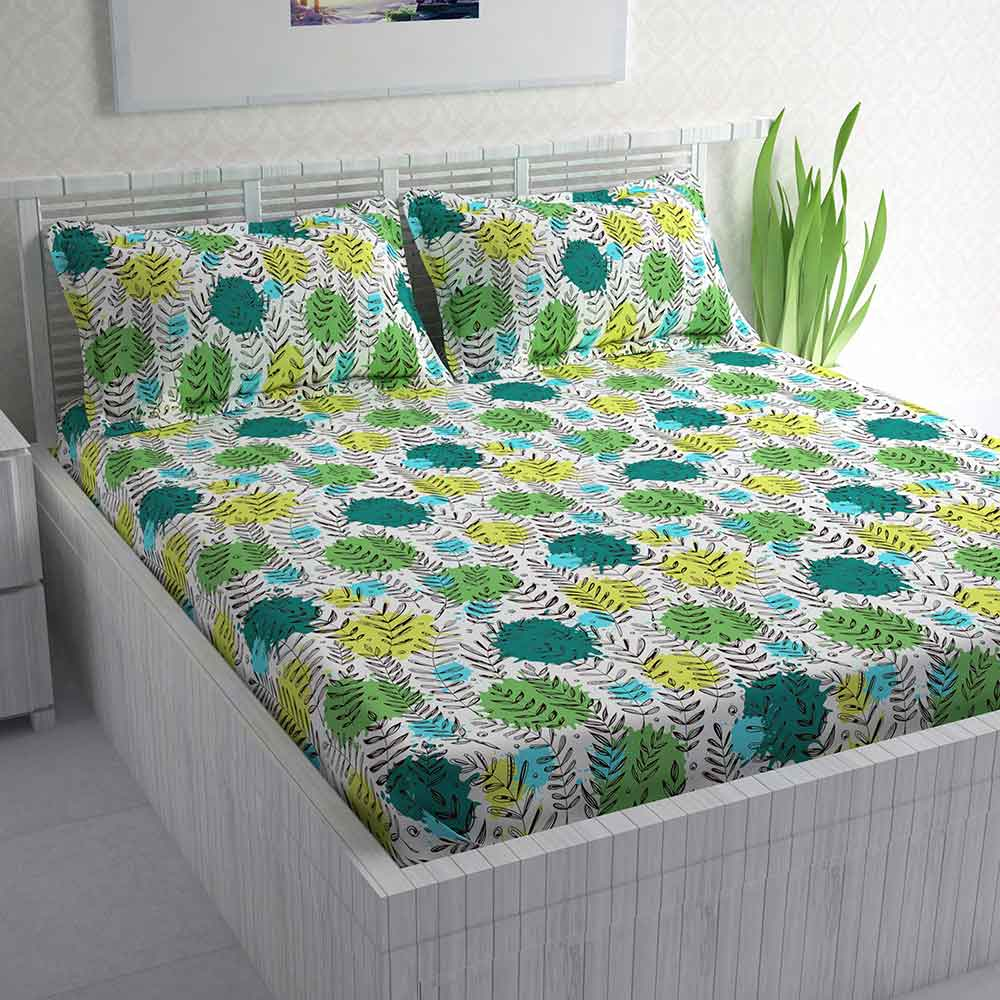 Divine Casa 100% Cotton Double Bed Sheet With 2 Pillow Covers 144 TC, Floral – Parrot Green & Yellow
