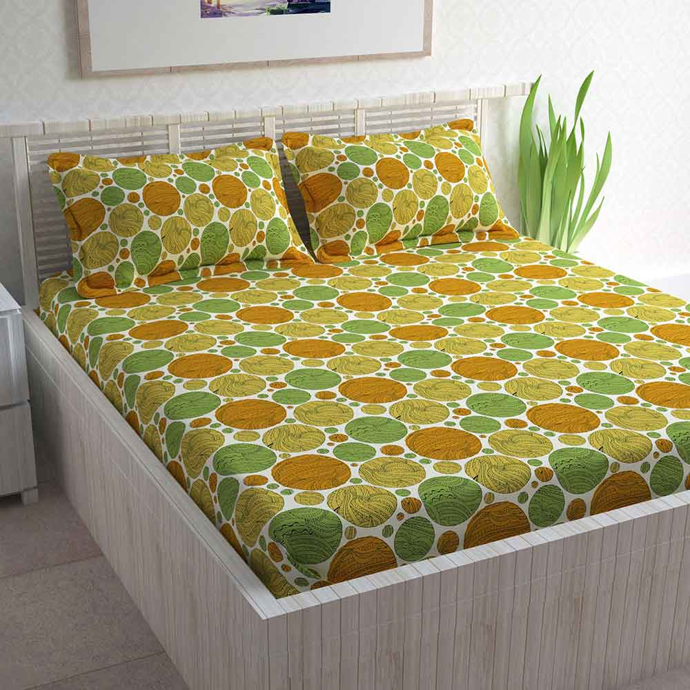 Divine Casa 100% Cotton Double Bed Sheet With 2 Pillow Covers 144 TC, Polka – Yellow & Parrot Green