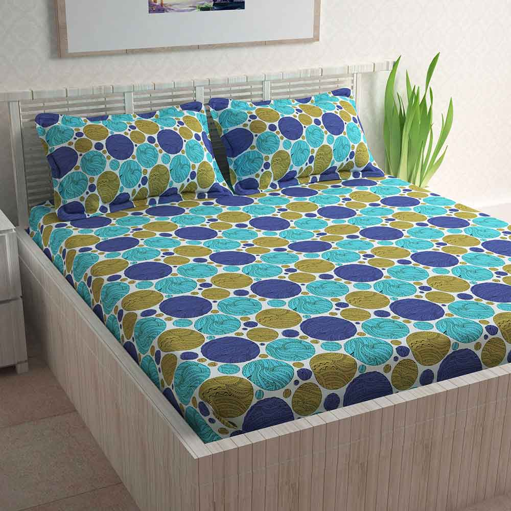 Divine Casa 100% Cotton 144 TC Double Bed Sheet With 2 Pillow Covers, Polka – Blue & Turquoise