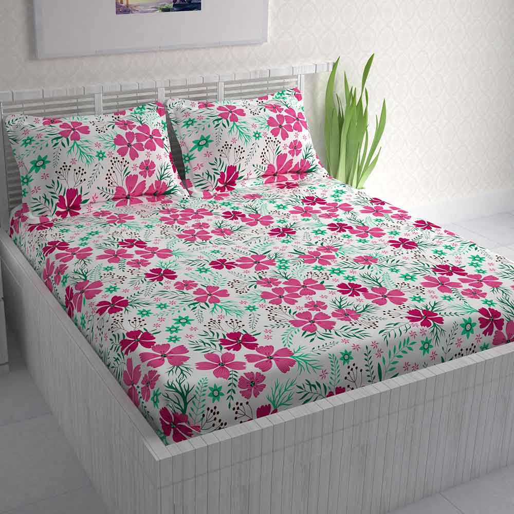 Divine Casa 100% Double Bed Sheet With 2 Pillow Covers Cotton 144 TC, Floral – Pink & Turquoise