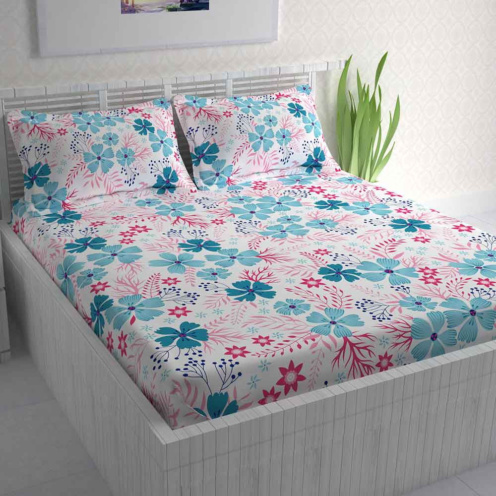 Divine Casa 100% Double Bed Sheet With 2 Pillow Covers Cotton 144 TC, Floral – Pink & Sky Blue