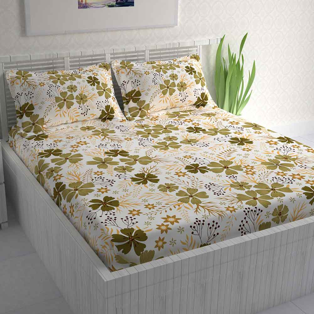 Divine Casa 100% Double Bed Sheet With 2 Pillow Covers Cotton 144 TC, Floral – Khakhi & Beige