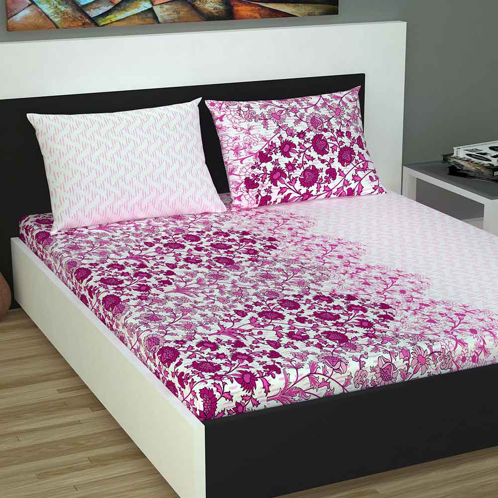 Divine Casa 100% Cotton 144 TC Queen Size Bed Sheet With 2 Pillow Covers, Floral – Purple & Pink