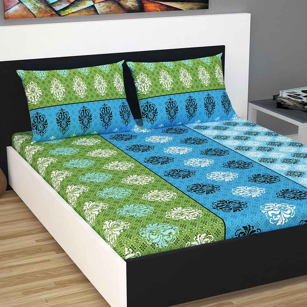 Divine Casa 100% Cotton Queen Size Bed Sheet With 2 Pillow Covers 144 TC, Floral – Green & Sky Blue