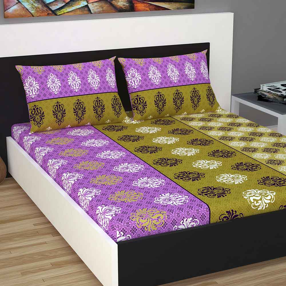 Divine Casa 100% Cotton 144 TC Queen Size Bed Sheet With 2 Pillow Covers, Floral – Purple & Green