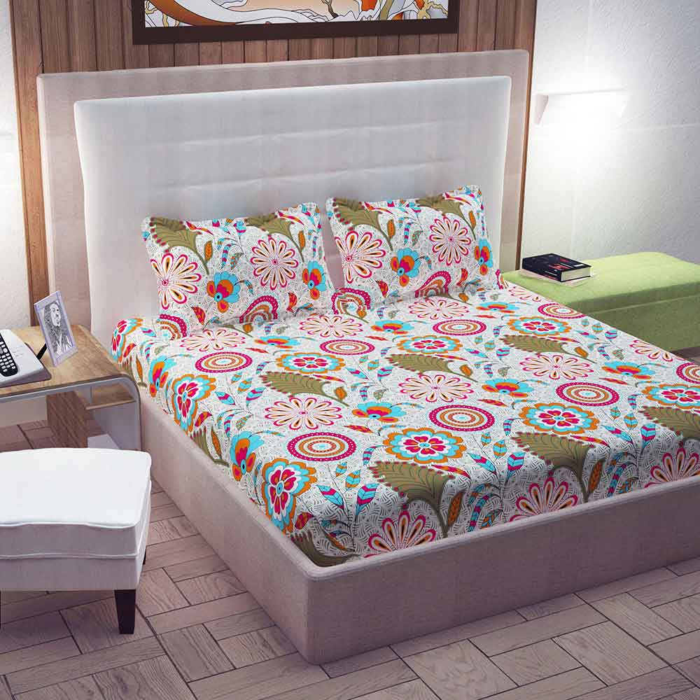 Divine Casa 100% Cotton Double Bed Sheet With 2 Pillow Covers 144 TC, Floral – Pink & Green