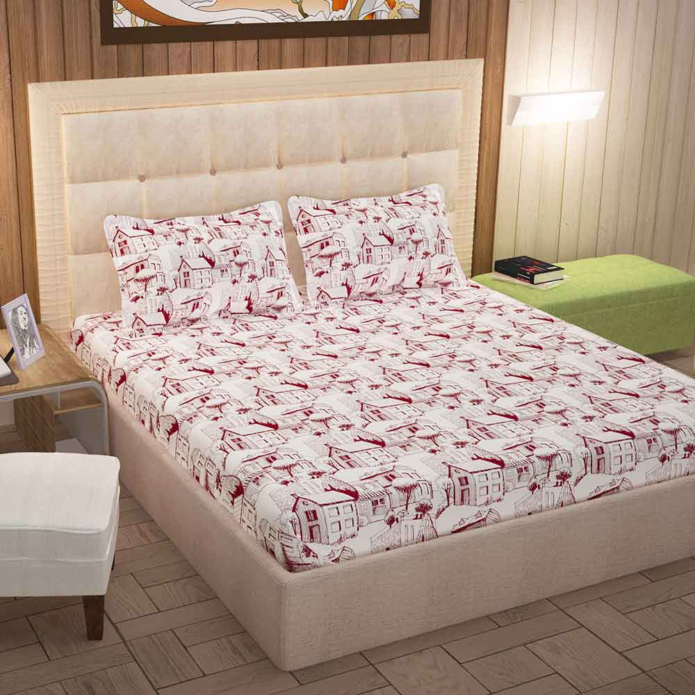 Divine Casa 100% Queen Size Bed Sheet With 2 Pillow Covers Cotton 144 TC, Abstract – Maroon & Off White