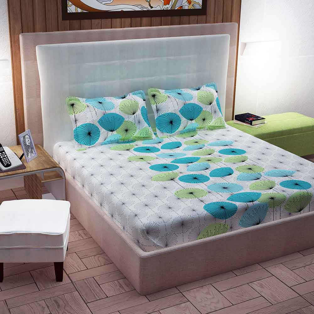 Divine Casa 100% Double Bed Sheet With 2 Pillow Covers Cotton 144 TC, Floral – Green & Turquoise