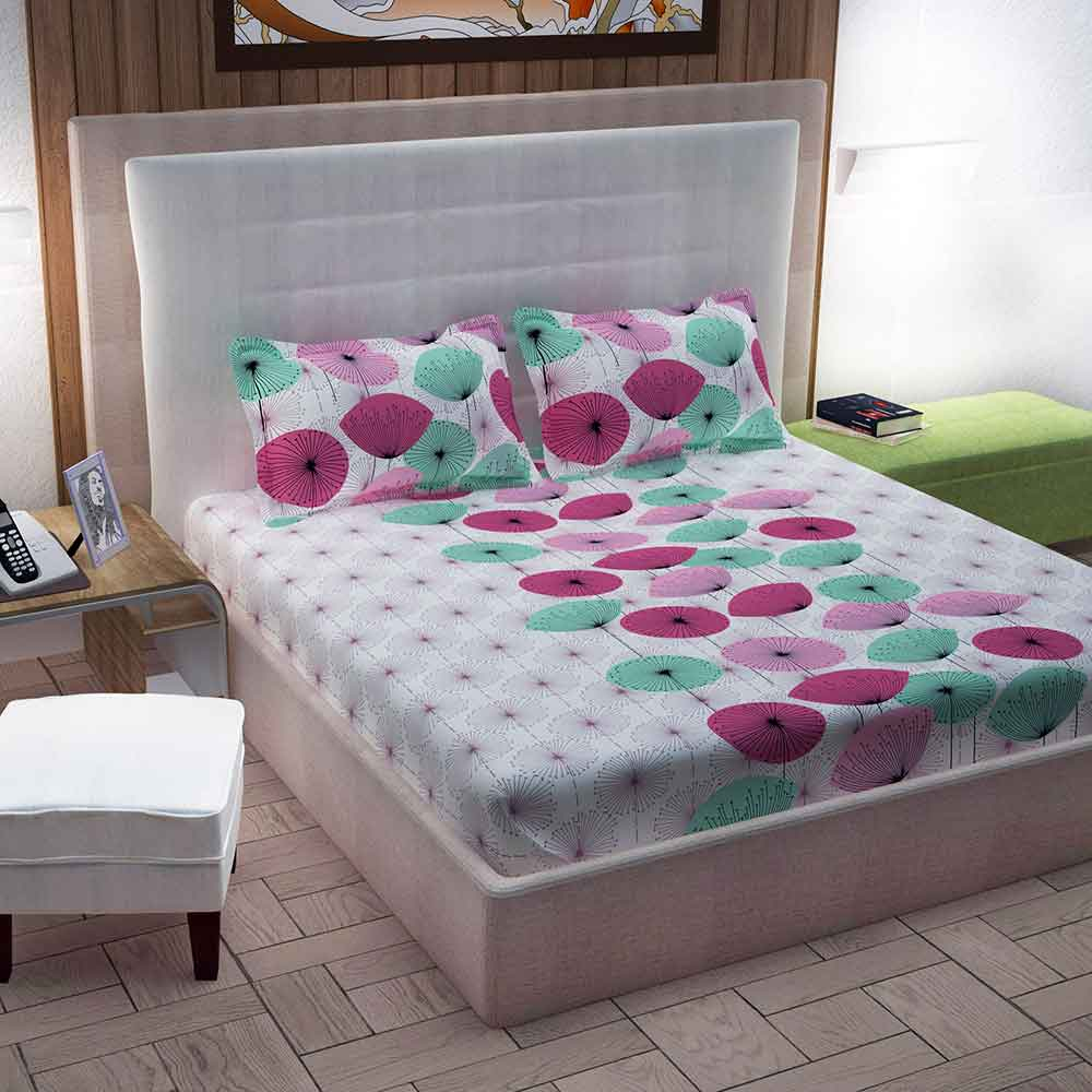 Divine Casa 100% Queen Size Bed Sheet With 2 Pillow Covers Cotton 144 TC, Floral – Pink & Turquoise