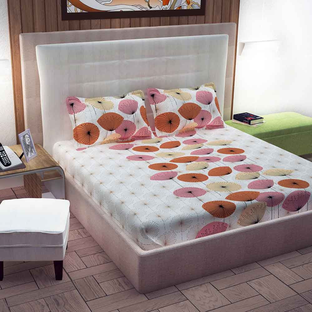 Divine Casa 100% Cotton Queen Size Bed Sheet With 2 Pillow Covers 144 TC, Floral – Beige & Brown
