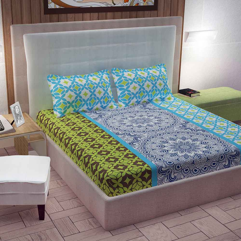 Divine Casa 100% Cotton Double Bed Sheet With 2 Pillow Covers Premium 144 TC, Motifs – Sky Blue & Parrot Green