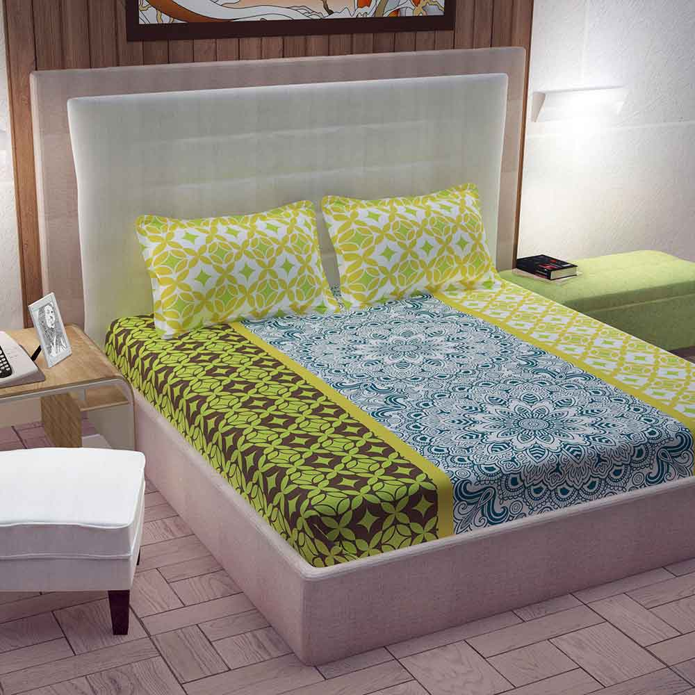 Divine Casa 100% Cotton Queen Size Bed Sheet With 2 Pillow Covers 144 TC, Motifs – Blue & Yellow