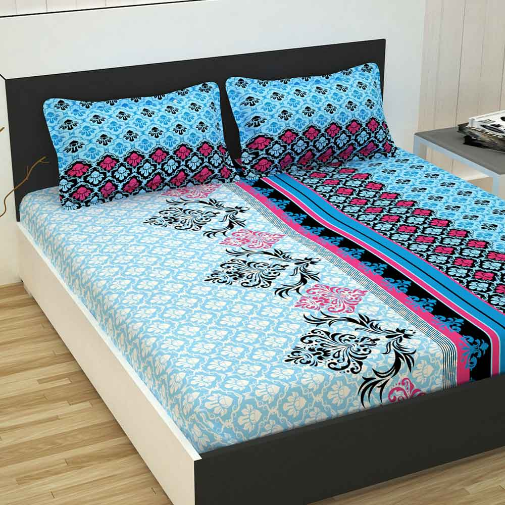 Divine Casa 100% Cotton Premium 144 TC Double Bed Sheet With 2 Pillow Covers, Floral – Blue & Pink